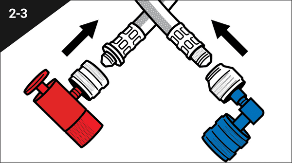 Thread and hand tighten the red fitting onto one end of single-use hose.