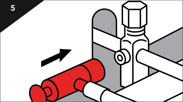 Connect the red fitting to the high side service port.
